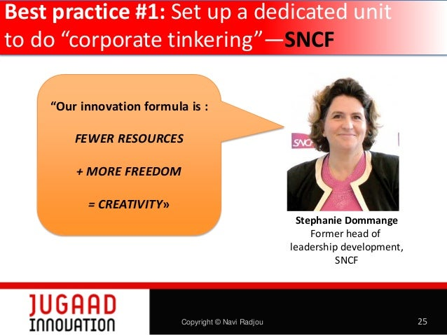 """Best practice #1: Set up a dedicated unit to do """"corporate tinkering""""—SNCF """"Our innovation formula is : FEWER RESOURCES + ..."""
