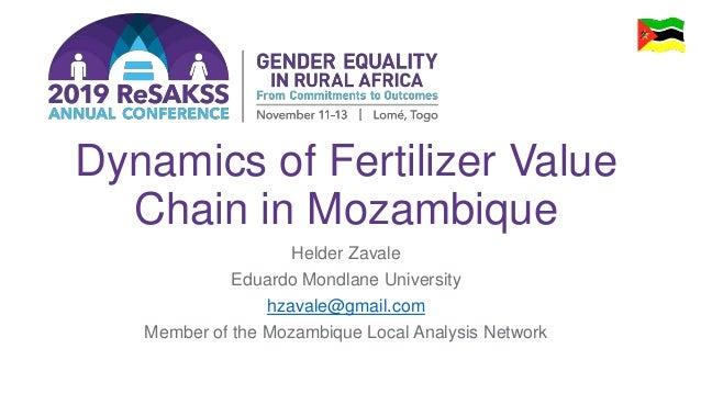 Dynamics of Fertilizer Value Chain in Mozambique Helder Zavale Eduardo Mondlane University hzavale@gmail.com Member of the...