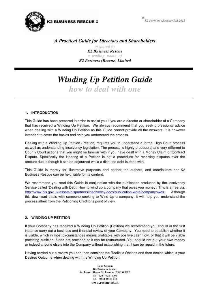 K Guide To Dealing With Winding Up Petitions