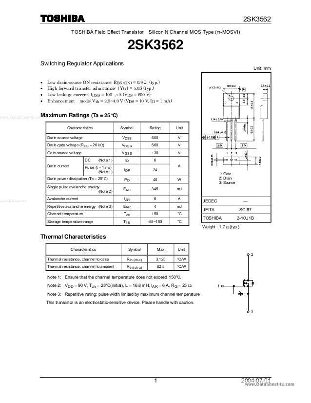 www.DataSheet4U.com 2SK3562 2004-07-011 TOSHIBA Field Effect Transistor Silicon N Channel MOS Type (π-MOSVI) 2SK3562 Switc...