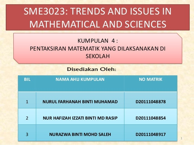 SME3023: TRENDS AND ISSUES IN MATHEMATICAL AND SCIENCES BIL NAMA AHLI KUMPULAN NO MATRIK 1 NURUL FARHANAH BINTI MUHAMAD D2...