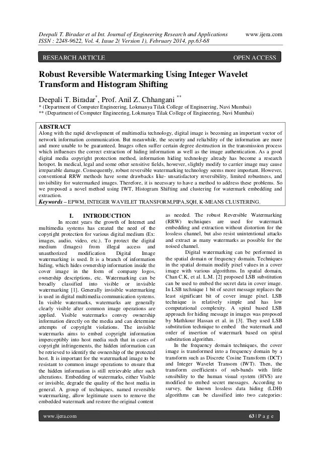 Deepali T. Biradar et al Int. Journal of Engineering Research and Applications ISSN : 2248-9622, Vol. 4, Issue 2( Version ...