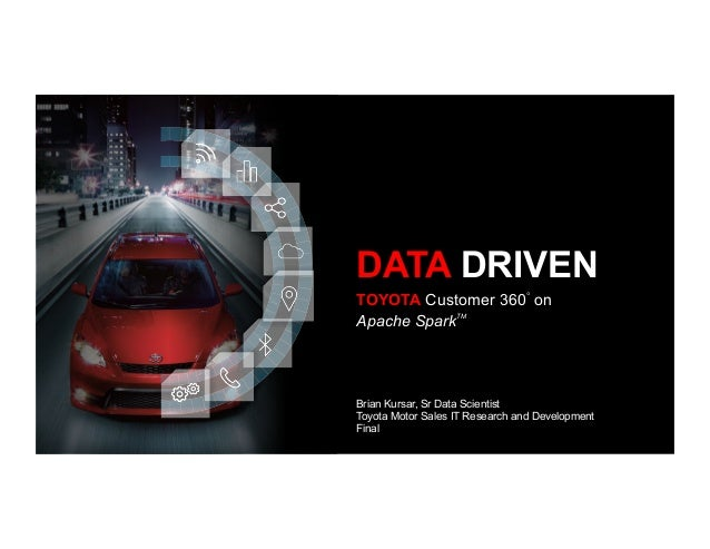 TOYOTA Customer 360◦ on Apache SparkTM DATA DRIVEN Brian Kursar, Sr Data Scientist Toyota Motor Sales IT Research and Deve...
