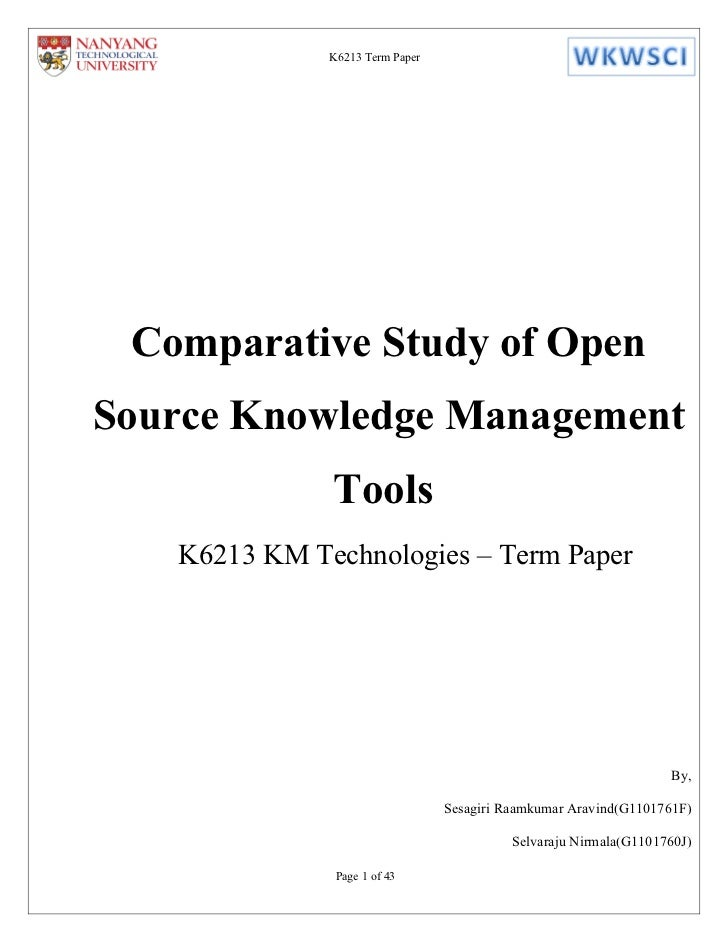 Comparative Study of Open Source KM Tools