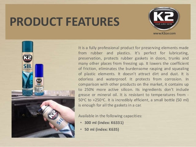K6331 K635 K2 SIL Silicone spray for rubber and plastic Slide 2