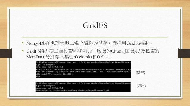 GridFS的檔案MetaData 屬性名稱 描述 filename 儲存的檔案名稱 chunkSize Chunk大小 uploadDate 上傳檔案進資料庫的時間 md5 檔案的md5,用於檢驗檔案完整性 length 檔案大小(註:單位為...