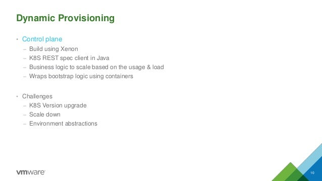 Dynamic Provisioning • Control plane – Build using Xenon – K8S REST spec client in Java – Business logic to scale based on...