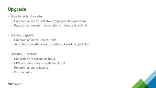 Upgrade • Side by side Upgrade – Preferred option for soft state (deployment) applications – Pauses user request momentari...