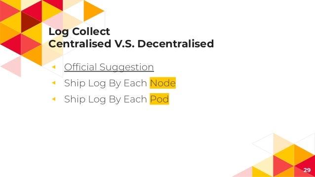 Log Collect Centralised V.S. Decentralised ◂ ◂ ◂ 29