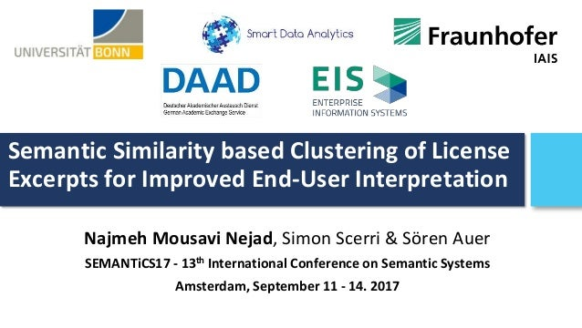 Semantic Similarity based Clustering of License Excerpts for Improved End-User Interpretation Najmeh Mousavi Nejad, Simon ...