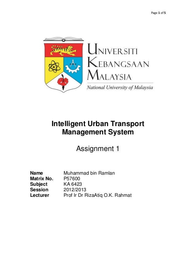 Page 1 of 5         Intelligent Urban Transport            Management System                  Assignment 1Name         Muh...