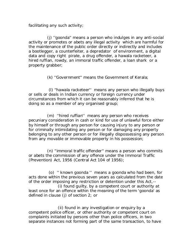 goonda act kerala anti social activities prrevention act  3 facilitating