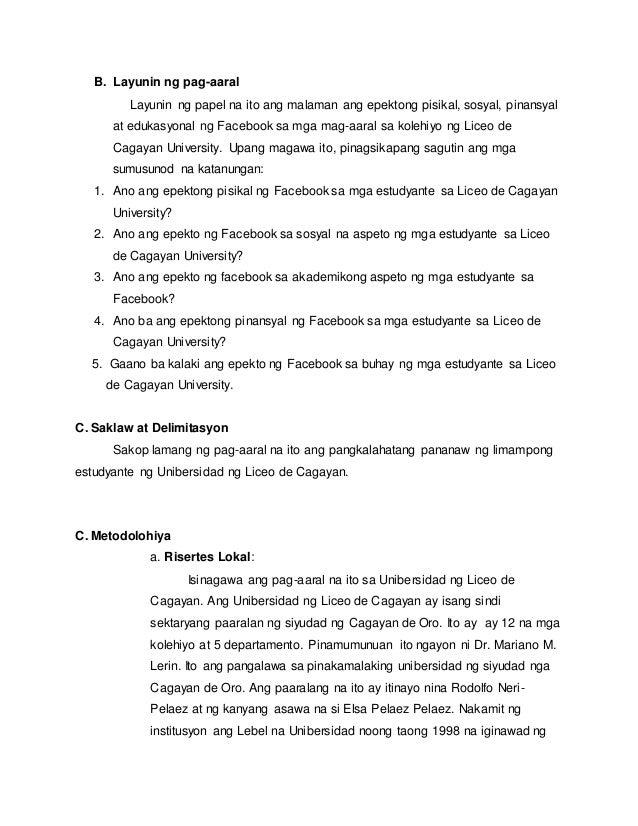 epekto ng facebook sa mga estudyante thesis