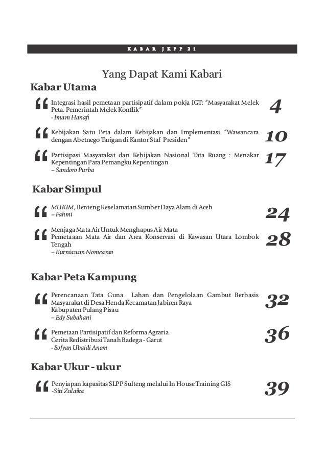 """K A B A R J K P P 2 1 Yang Dapat Kami Kabari """" Kabar Utama Integrasi hasil pemetaan partisipatif dalam pokja IGT: """"Masyara..."""