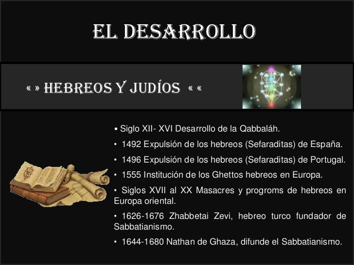 El desarrollo« » HEBREOS y judíos « «                                          22°           • Siglo XII- XVI Desarrollo d...