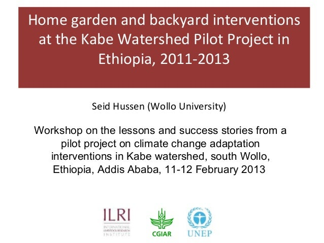 Home garden and backyard interventions at the Kabe Watershed Pilot Project in          Ethiopia, 2011-2013           Seid ...