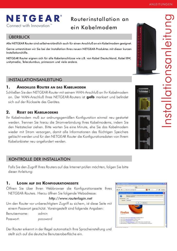 NETGEAR Kabelrouter Installationshilfe