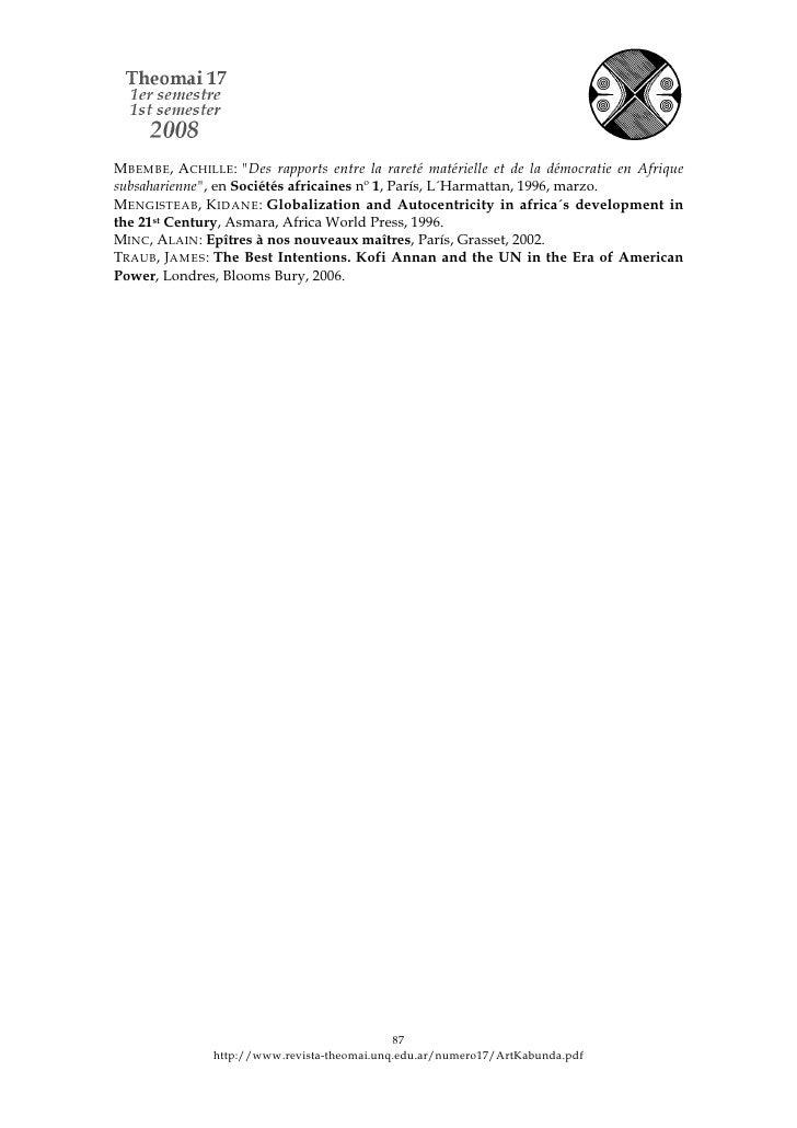 """M BEMBE, ACHILLE: """"Des rapports entre la rareté matérielle et de la démocratie en Afrique subsaharienne"""", en Sociétés afri..."""