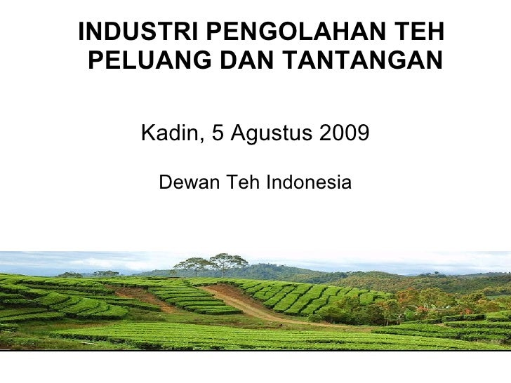 Kadin, 5 Agustus 2009 Dewan Teh Indonesia <ul><li>INDUSTRI PENGOLAHAN TEH  PELUANG DAN TANTANGAN </li></ul>