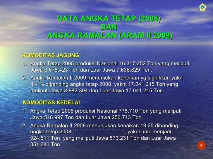 DATA ANGKA   TETAP   (2008)   DAN  ANGKA RAMALAN (ARAM II 2009) KOMODITAS JAGUNG <ul><li>Angka Tetap 2008 produksi Nasiona...