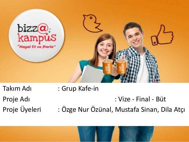 DAHILI / INTERNALDAHILI / INTERNAL Takım Adı : Grup Kafe-in Proje Adı : Vize - Final - Büt Proje Üyeleri : Özge Nur Özünal...