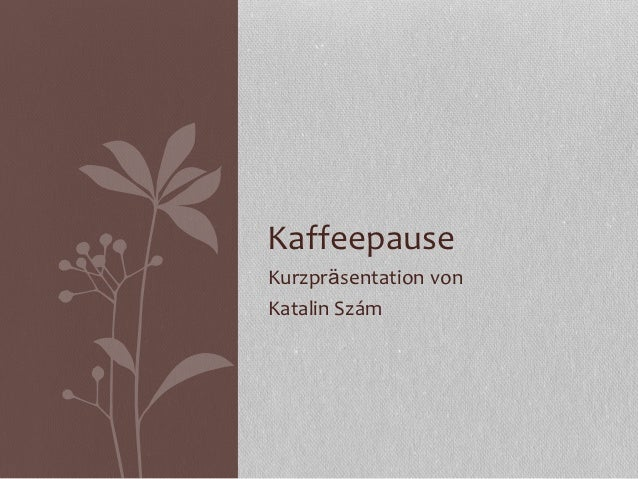 KaffeepauseKurzpräsentation vonKatalin Szám
