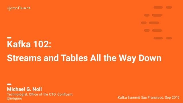 1 Kafka 102: Streams and Tables All the Way Down Kafka Summit San Francisco, Sep 2019 Michael G. Noll Technologist, Office o...