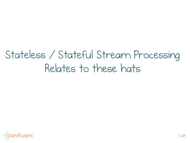 24 Stateless / Stateful Stream Processing Relates to these hats