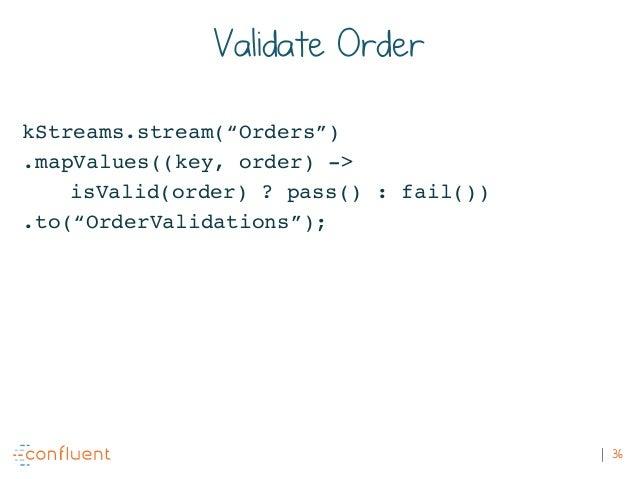 """36 Validate Order kStreams.stream(""""Orders"""") .mapValues((key, order) -> isValid(order) ? pass() : fail()) .to(""""OrderValidat..."""