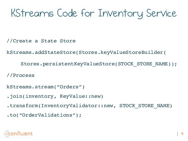 41 KStreams Code for Inventory Service //Create a State Store kStreams.addStateStore(Stores.keyValueStoreBuilder( Stores.p...