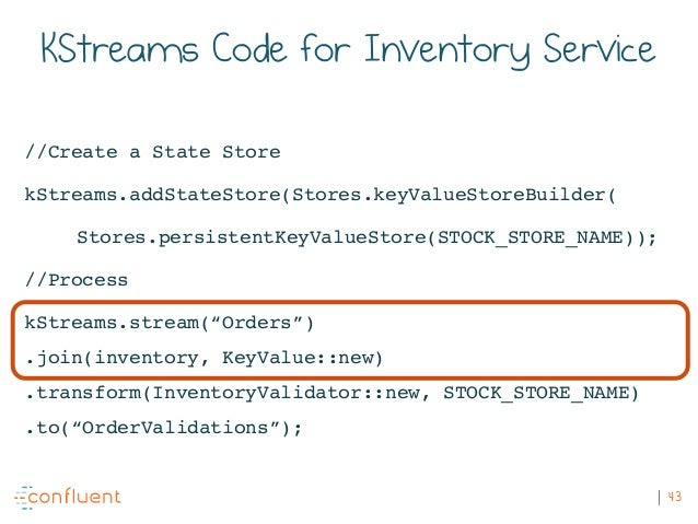 43 KStreams Code for Inventory Service //Create a State Store kStreams.addStateStore(Stores.keyValueStoreBuilder( Stores.p...