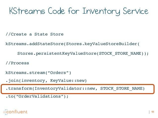 44 KStreams Code for Inventory Service //Create a State Store kStreams.addStateStore(Stores.keyValueStoreBuilder( Stores.p...