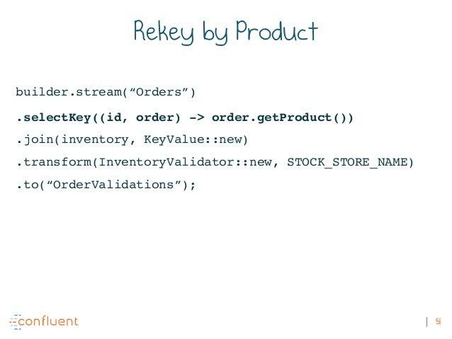 "51 Rekey by Product builder.stream(""Orders"") .selectKey((id, order) -> order.getProduct()) .join(inventory, KeyValue::new)..."
