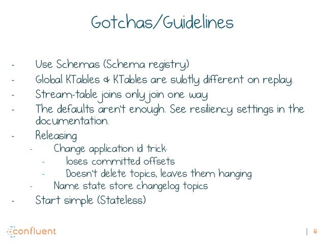 61 Gotchas/Guidelines - Use Schemas (Schema registry) - Global KTables & KTables are subtly different on replay. - Stream-...