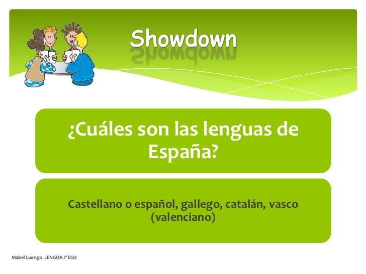 ¿Cuáles son las lenguas de                               España?                      Castellano o español, gallego, catal...