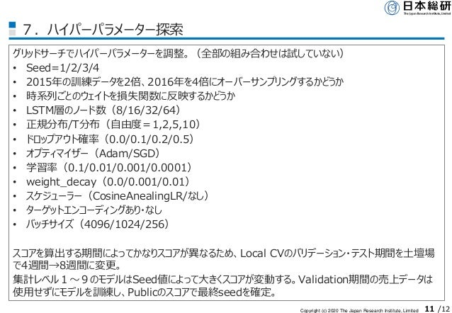 Copyright (c) 2020 The Japan Research Institute, Limited 11 /12 7.ハイパーパラメーター探索 グリッドサーチでハイパーパラメーターを調整。(全部の組み合わせは試していない) • S...