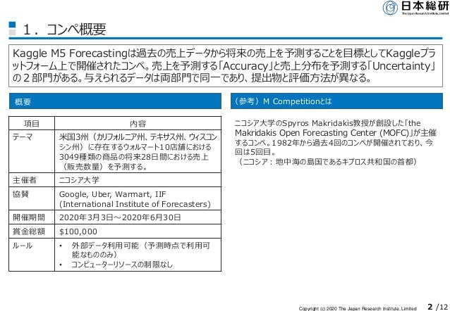 Copyright (c) 2020 The Japan Research Institute, Limited 2 /12 1.コンペ概要 Kaggle M5 Forecastingは過去の売上データから将来の売上を予測することを目標としてK...