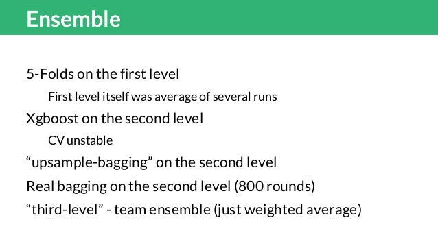 """Final Ensemble 20 rounds of """"upsample-bagging"""" of Xgboost of 44 1st level models The team ensemble: 0.8*andriy's model + 0..."""