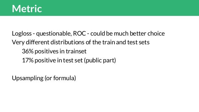 Metric Logloss - questionable, ROC - could be much better choice Very different distributions of the train and test sets 3...