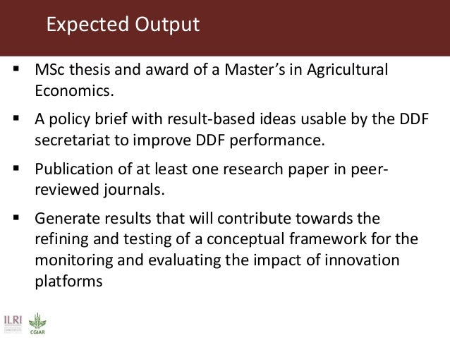 expected output thesis Even if you are applying to an established research project, you will probably be  expected, as a part of the university application  this should be followed by the  title of your planned dissertation  expected results and output of the study.