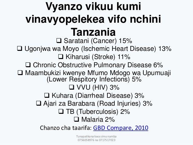 Vyanzo vikuu kumi vinavyopelekea vifo nchini Tanzania  Saratani (Cancer) 15%  Ugonjwa wa Moyo (Ischemic Heart Disease) 1...