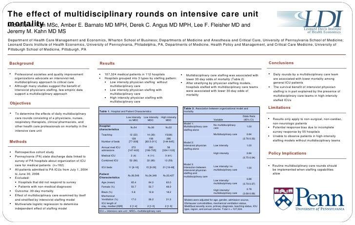 The effect of multidisciplinary rounds on intensive care unit mortality Michelle M. Kim MSc, Amber E. Barnato MD MPH, Dere...