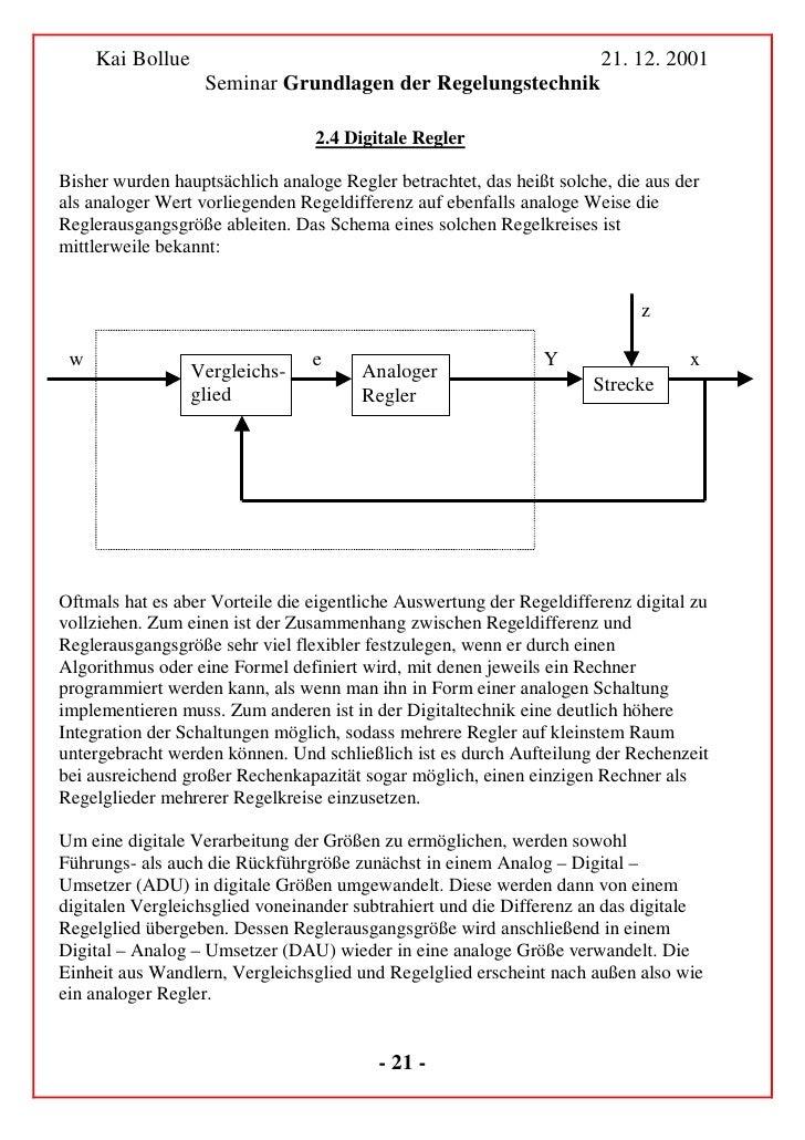 Kai Bollue                                                        21. 12. 2001               Seminar Grundlagen der Regelu...