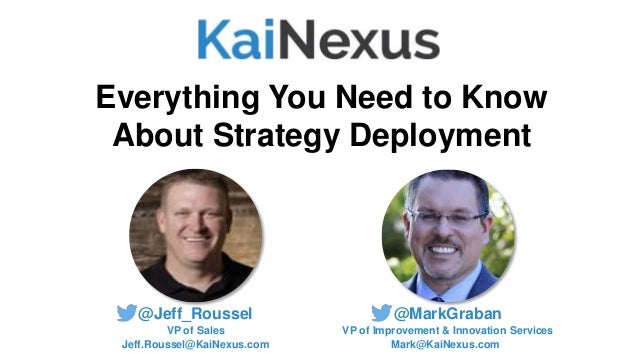 @MarkGraban VP of Improvement & Innovation Services Mark@KaiNexus.com Everything You Need to Know About Strategy Deploymen...