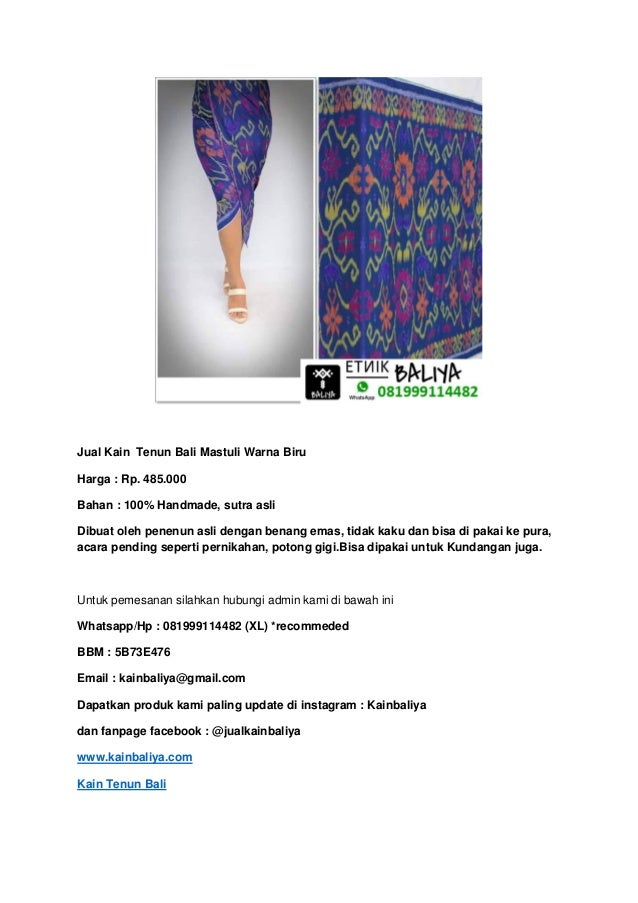 Kain tenun bali mastuli | Whatsapp/Hp : 081999114482 (XL)  Slide 3