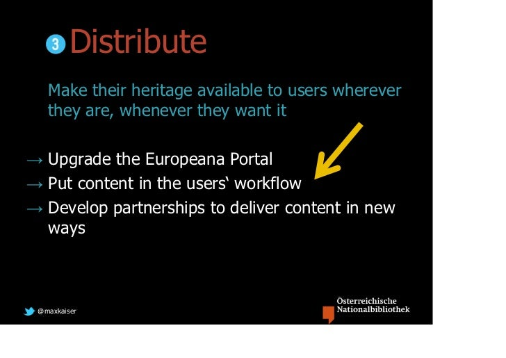 Distribute   Make their heritage available to users wherever   they are, whenever they want it→ Upgrade the Europeana Port...