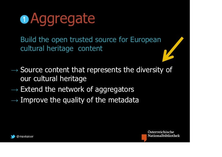 Aggregate   Build the open trusted source for European   cultural heritage content→ Source content that represents the div...