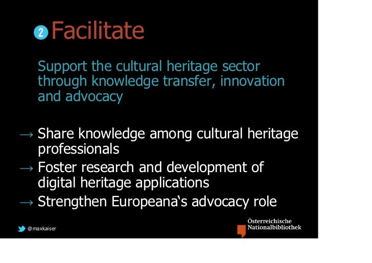 Facilitate    Support the cultural heritage sector    through knowledge transfer, innovation    and advocacy→ Share knowle...