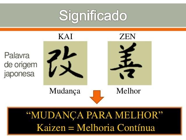 """KAI ZEN Mudança Melhor """"MUDANÇA PARA MELHOR"""" Kaizen = Melhoria Contínua Palavra de origem japonesa"""