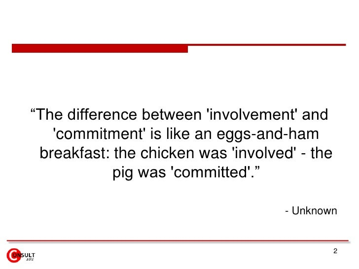 """2<br />""""The difference between 'involvement' and 'commitment' is like an eggs-and-ham breakfast: the chicken was 'involved..."""